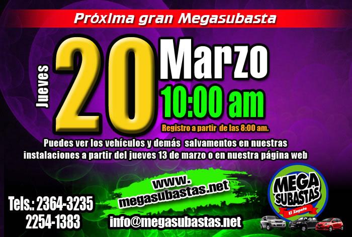 No te pierdas nuestra Proxima Megasubasta este Jueves 20 de Marzo